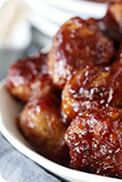 Chicken Meatballs with Muscadine Glaze
