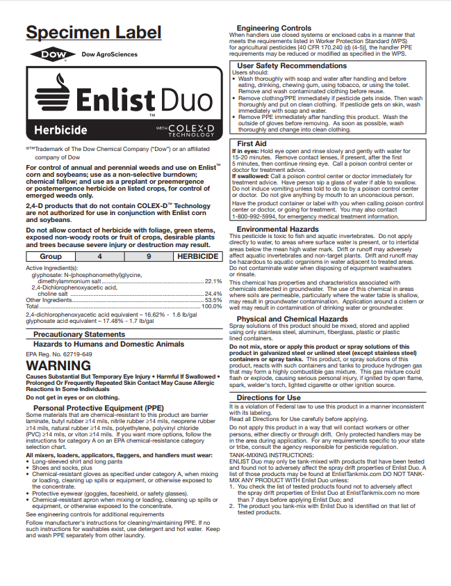 Enlist Duo Specimen Label