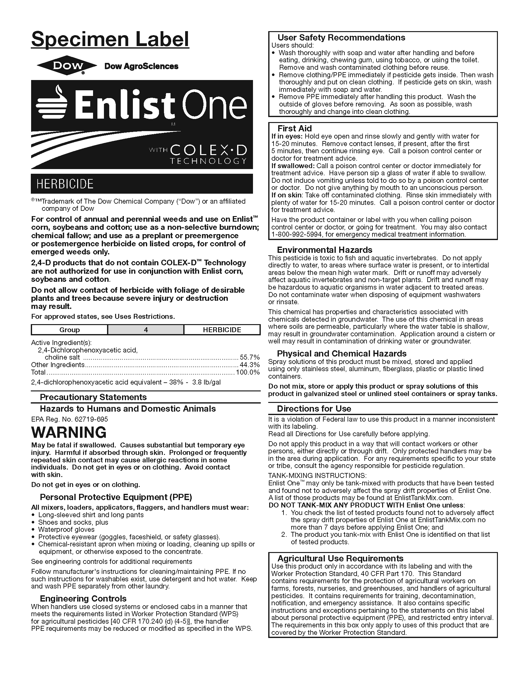 Enlist-One-Herbicide-Specimen-Label