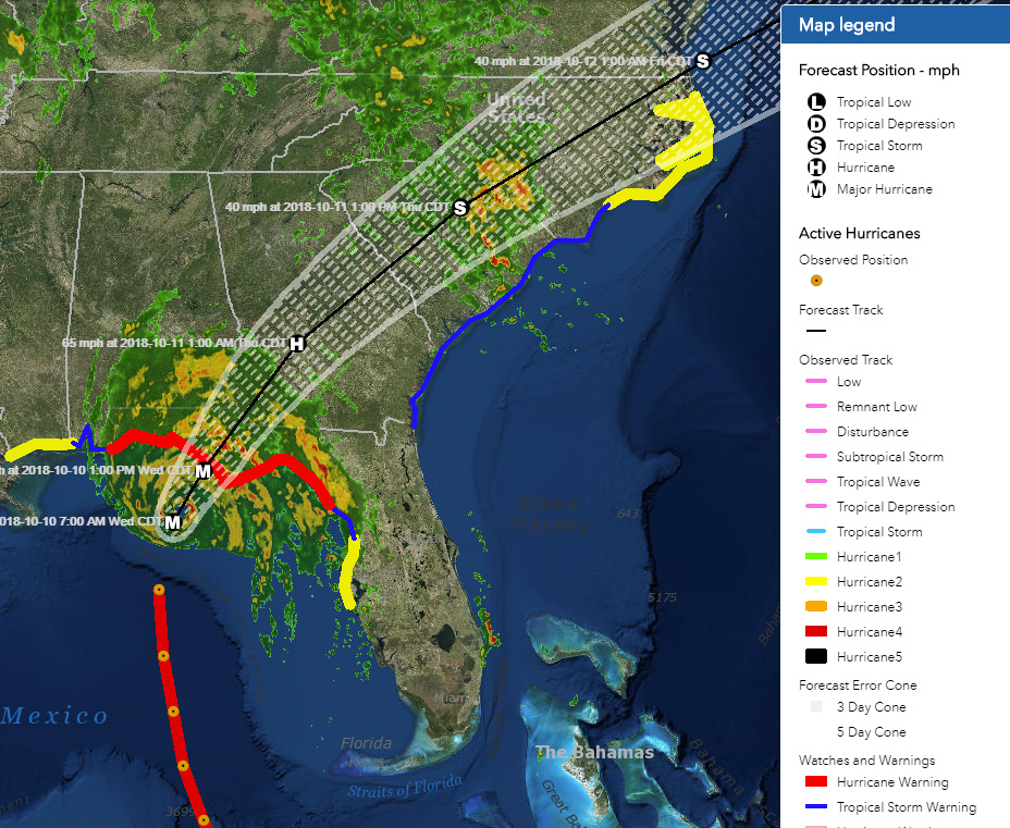 map of the hurricane track linked to arcgis